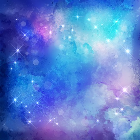 Abstract blue vector watercolor Christmas night background with subtle grunge texture and stars Çizim