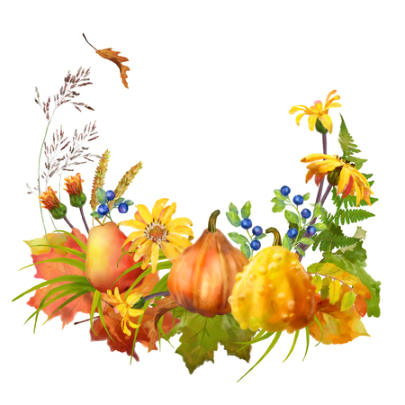 fall leaves on white: Watercolor autumn composition with pumpkin, flowers, fall leaves on a white background Stock Photo