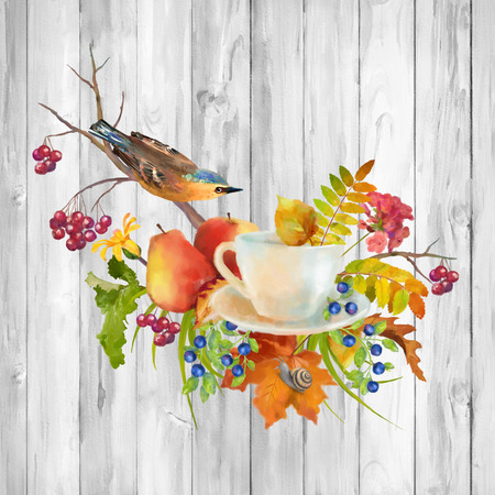 Watercolor autumn composition with cup, flowers, fall leaves, tree branch, bird on a wooden background