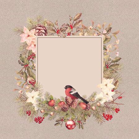 frame vintage: Christmas vintage watercolor decorative frame. Holiday greeting card. Bird bullfinch, poinsettia flowers with Rowan and Holly branch