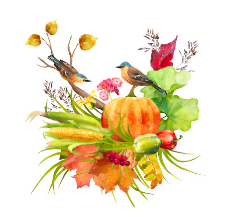 Watercolor Thanksgiving composition with pumpkin, corn, fall leaves and birds on a white background