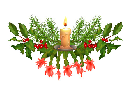holiday garland: Vector Christmas decorations. Holiday composition of the Christmas garland on white background Illustration