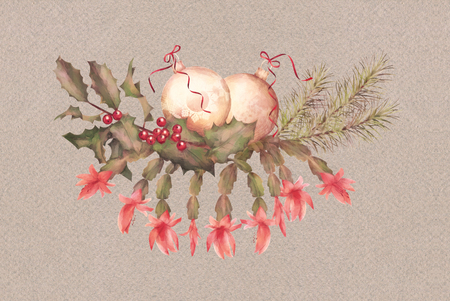 holiday garland: Christmas Watercolor Garland. Holiday composition of the Christmas ornaments