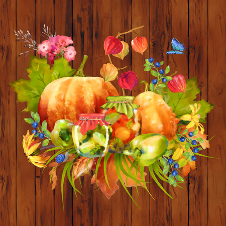 Illustration of watercolor Thanksgiving composition with pumpkin, autumn flowers, fall leaves on a wooden background