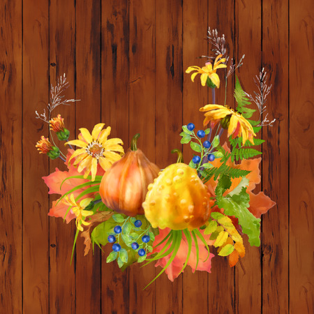 fall leaves background: Illustration of watercolor Thanksgiving composition with pumpkin, autumn flowers, fall leaves on a wooden background