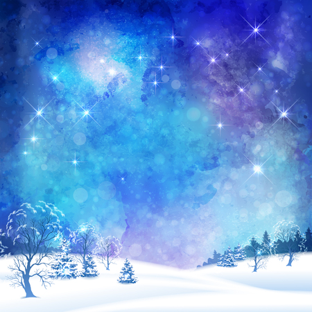 Christmas night vector watercolor background with winter forest, subtle grunge texture and stars