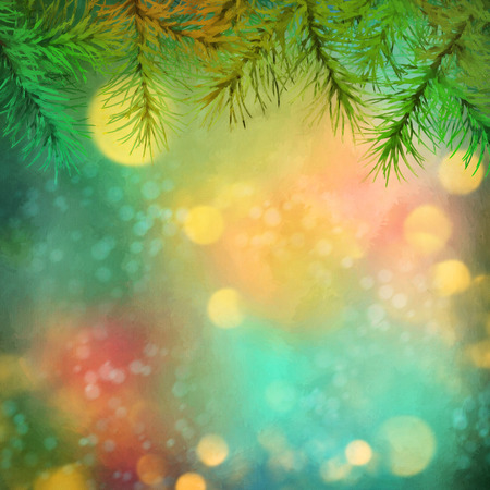 spot lit: Holiday Christmas Tree. Artistic watercolor background with painting texture