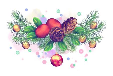 Christmas Watercolor Garland. Holiday composition of the Christmas ornaments on white background