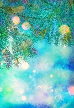 Holiday Christmas Tree. Artistic watercolor background with painting texture