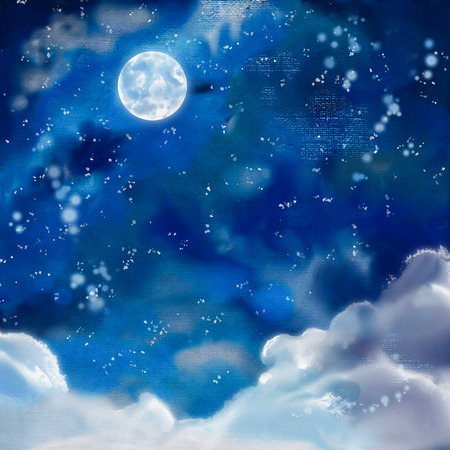 Watercolor nightly dramatic blue background with painting texture, clouds and moon