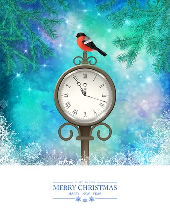 winter scene: Vector Winter Christmas Scene. Xmas landscape with tree branches, vintage outdoor clock, bird bullfinch Illustration