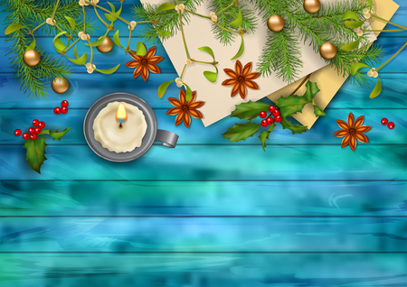 christmas star background: Christmas vector top view background. Candle, tree branches, Holly, Mistletoe and star anise on wooden table