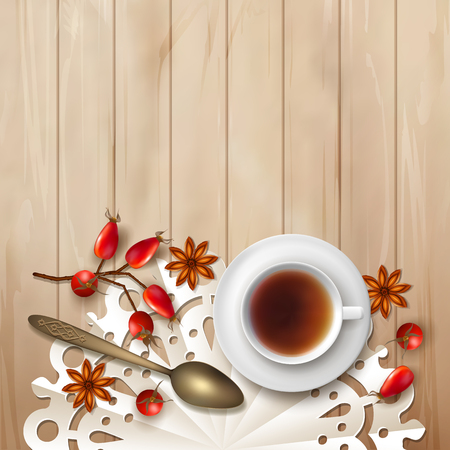 Tea time vector background on wood. Cup of tea, Rosehip berries, teaspoon and star anise on rustic table