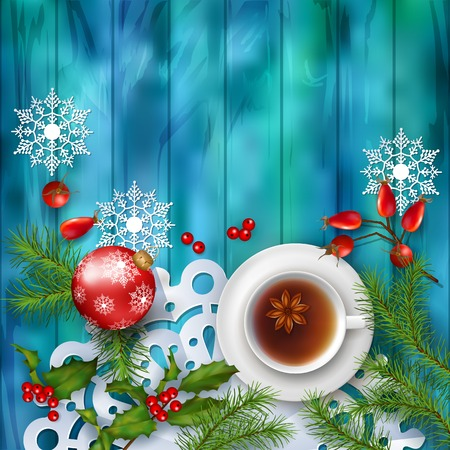 tea tree: Christmas tea party background. Holiday top view background with cup of tea, tree branches, Rosehip berries, ornament and star anise on wooden table Illustration