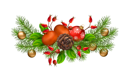 christmas garland: Vector Christmas decorations. Holiday composition of the Christmas garland Illustration