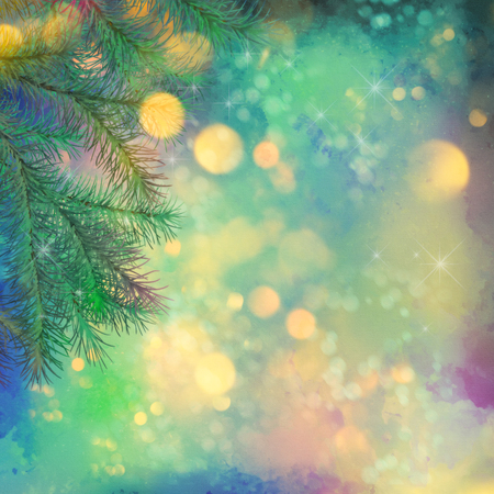 tree texture: Holiday Christmas Tree. Artistic watercolor background with painting texture