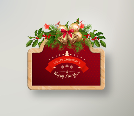 signboard: Vector illustration of wooden Christmas signboard. Tree branches garland, frame and calligraphic text Illustration