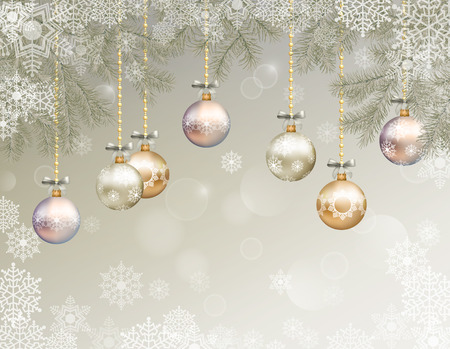 bright christmas tree: Christmas festive background with fir tree branches, snowflakes, ornaments