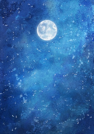 Watercolor nightly dramatic blue background with painting texture 写真素材