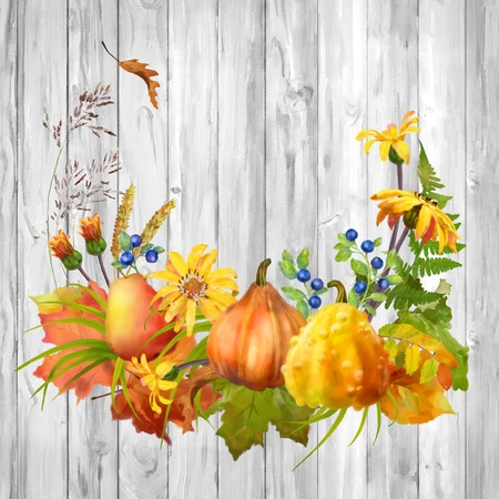 fall leaves background: Watercolor autumn composition with pumpkin, flowers, fall leaves on a wooden background Stock Photo
