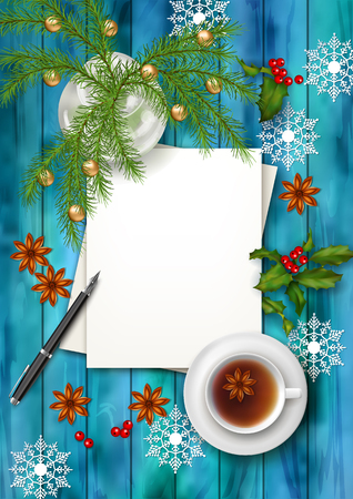 tea tree: Christmas tea party background. Holiday top view background with cup of tea, tree branches, blank paper sheet, ornament and star anise on wooden table Illustration