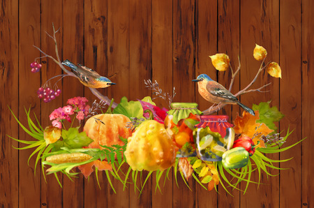 Watercolor Thanksgiving composition with pumpkin, autumn flowers, fall leaves and birds on a wooden background Stock Photo