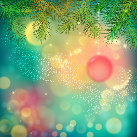 bright christmas tree: Abstract Vector Christmas and New Year Background with Christmas tree branches, Xmas ornaments