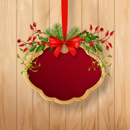 holiday garland: Vector illustration of Christmas signboard with holiday garland, wooden frame