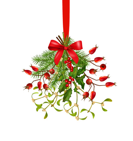 Hanging bunch of Christmas and New year vector decoration with fir-tree branches, holly, mistletoe, rose hip, bow over a white background Illustration