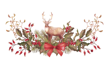 holiday garland: Christmas Watercolor Garland. Holiday vintage style decorations with a deer on white background