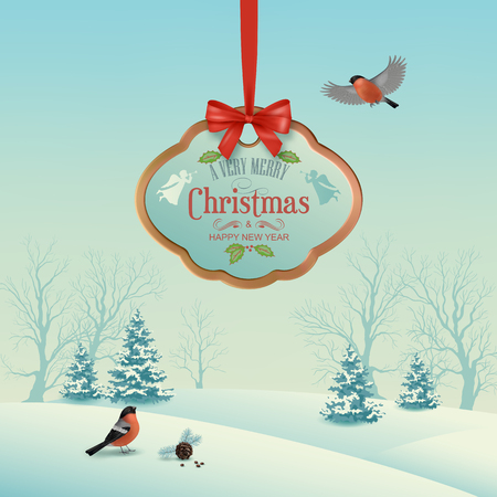 Christmas winter landscape with hanging wooden sign, snow covered hills, winter forest, birds bullfinches Illustration