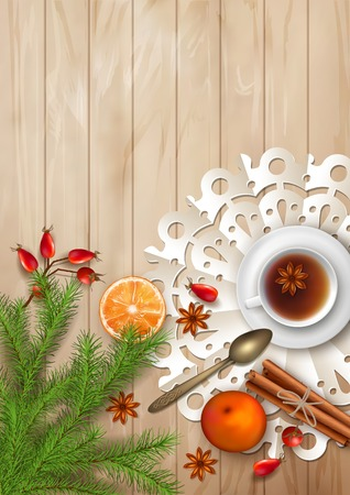 Christmas tea party background. Holiday top view background with cup of tea, tree branches, Rosehip berries, orange, cinnamon sticks and star anise on wooden table Illustration