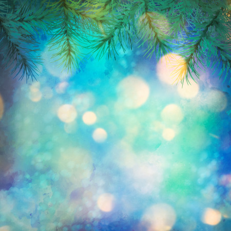 artistic background: Holiday Christmas Tree. Artistic watercolor background with painting texture