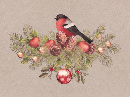 Merry Christmas Watercolor Drawing. Holiday Composition of the Christmas decorations with bird bullfinch Stock Photo