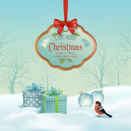 snow forest: Vector Christmas winter landscape with hanging wooden sign, gifts, snow covered hills, winter forest, bird bullfinch