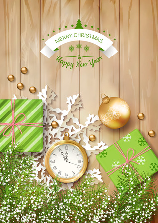 christmas vector top view background with a clock fir twigs gifts christmas balls