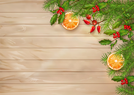 table decor: Christmas vector top view background on wooden table