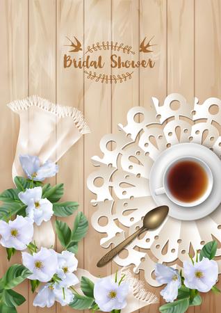 taza de té: Plantilla de la invitación nupcial de la ducha