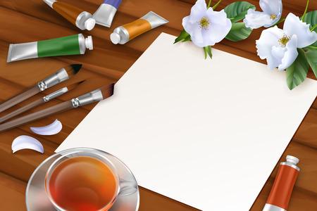 tea rose: Vector Spring Background Illustration