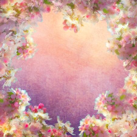 cerezos en flor: Pintura de primavera flor de cerezo Foto de archivo