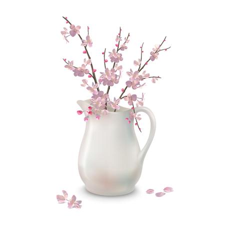 Spring Blossoms Branch in Jug Illustration