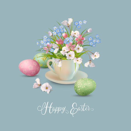 Happy Easter Card. Vector cup full of spring flowers and eggs Illustration