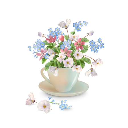fallen: Vector spring bouquet in white cup with fallen petals and flowers on a white background.