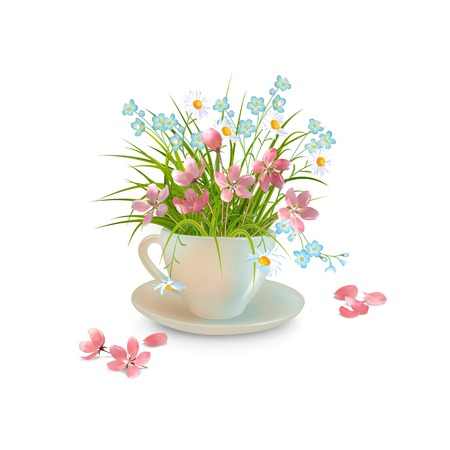 Spring or summer bouquet of grass and various flowers in teacup and fallen petals on a whitebackground. Vector holiday composition