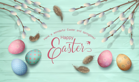 table decor: Easter top view wooden background with Happy Easter lettering, pussy willow branches, feathers and painted eggs Illustration