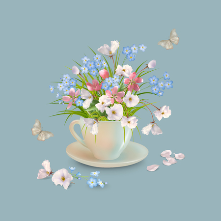 Spring or summer bouquet of herbs and various flowers in teacup, butterfly, fallen petals on a grey background. Vector holiday composition Illustration