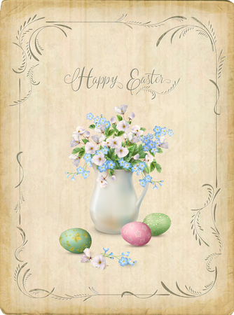 retro postcard: Retro Easter Card. Vector vintage postcard with a frame, spring flowers in white pitcher and painted eggs
