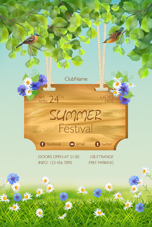 tree grass: Vector summer landscape with signboard, two birds, grass, flowers, tree branches.