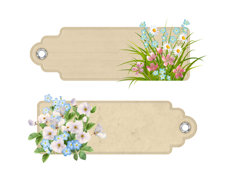 Set of decorative tags or bookmarks with a variety of spring or summer flowers. Floral vector banners Illustration