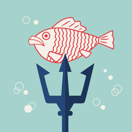 Vector flat marine icon. Nautical travel symbol Illustration